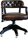 Casa Padrino Luxus Echtleder Büro Stuhl Braun Drehstuhl Schreibtisch Stuhl - Chefsessel