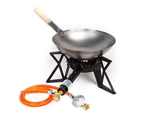 Wokbrenner Set/Gaskocher 7,5KW mit Gasschlauch + Druckminderer + 33 cm Stahl Asia-Wokpfanne mit Holzgriff (Gusseisen Hockerkocher, Asia Kocher, Gastrokocher, Gasherd, Campingkocher für Wok)