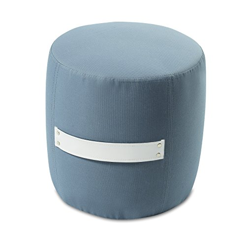 My Note Deco 065852 Mitsy Pouf Tissus Polyester Gris/Blanc 33 cm