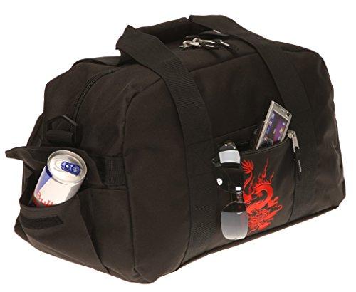 ELEPHANT Sporttasche mit Schuhfach / Naßfach Sport Tasche + Trinkflasche (FLOWER Lila-Pink) DRAGON Schwarz