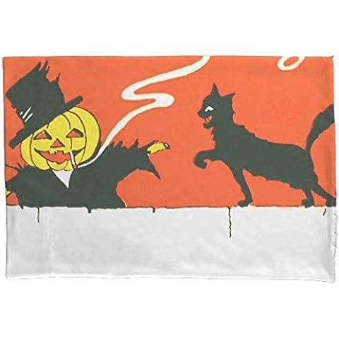 Funda de almohada con cremallera decorativa de fumar espantapájaros Jack O 'farol negro gato almohada 20x