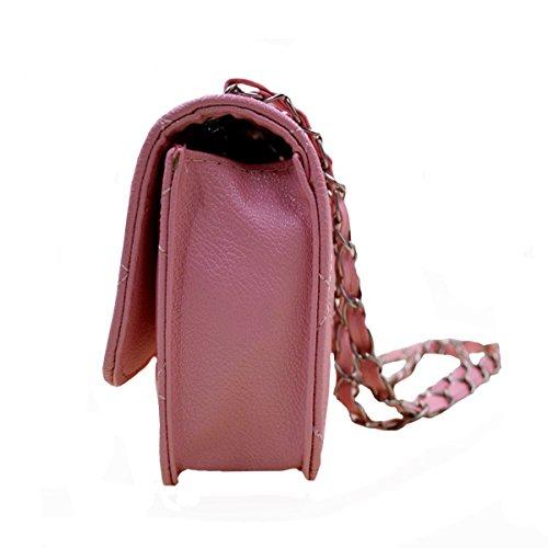 Aisi Womens PU in pelle catena borsa trapuntata Twist Lock Borsa a tracolla Fashion Design Croce Corpo Borsa, Black (nero) - hjb-111 Pink