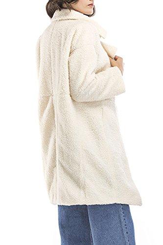 Le Donne Inverno Caldo Bavero Aperto Davanti A Lungo In Giacca E Jecket Giacconi White