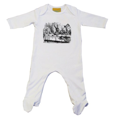 Mad Hatters Tea Party alice020 Baby Grow weiß