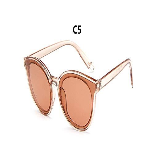 Sport-Sonnenbrillen, Vintage Sonnenbrillen, NEW Women Cat Eye Brand Designer Round Sunglasses Spiegel Farbeful Pink Lady Female Hot Sale Sun Glasses Oculos De Sol UV400 C5