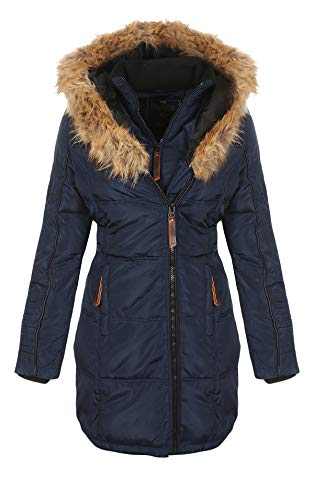 Geographical Norway Damen Jacke Winterparka Belissima XL-Fellkapuze navy XXL -