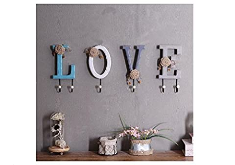 Beauqueen Rural Style Woody Letter Wall Decoration Hook Up Home Clothing Shop On The Wall Decorations Clothes And Hats Hooks Wall Decoration , love