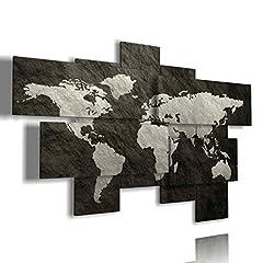 Idea Regalo - duudaart Quadri Moderni Soggiorno XXL Mappa del Mondo Astratto 93 multilivello 3D (177x110cm) Camera da Letto Cucina Salotto Ufficio
