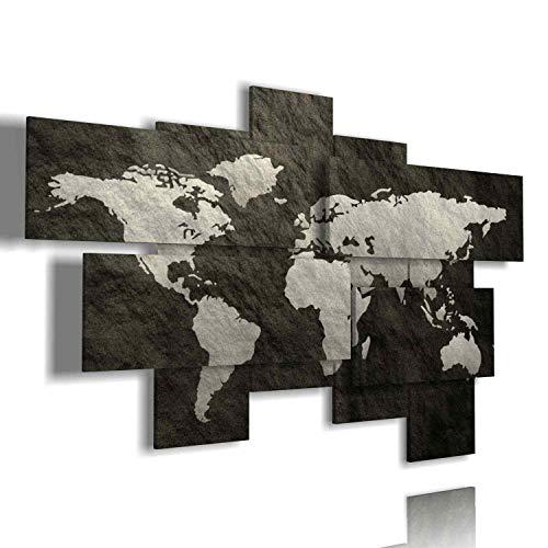 duudaart Quadri Moderni Soggiorno XXL Mappa del Mondo Astratto 93  multilivello 3D