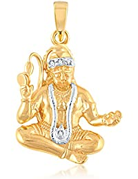 VK Jewels LORD HANUMAN Gold and Rhodium Plated Alloy God Pendant for Men & Women made with Cubic Zirconia -  PS1011G [VKP1011G]