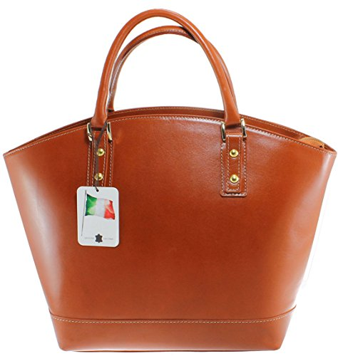 CTM Borsa Classica da Donna, Elegante alla Moda, Stile Italiano, 35x29x15cm, Vera Pelle 100% Made in Italy Cuoio