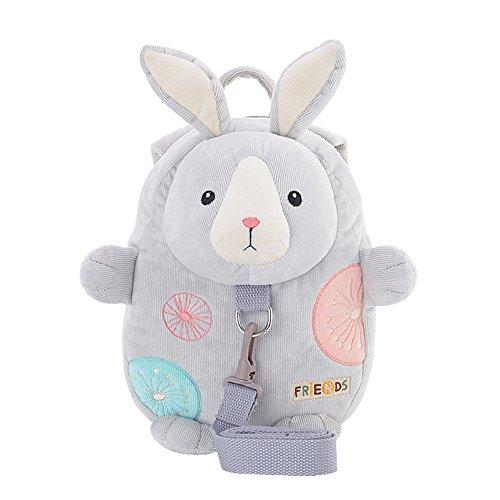 Metoo Kinder Rucksack Kleinkind Tasche Hase Rucksack - Karikatur Grau Kaninchen Baby Leinen Umhängetaschen mit Anti-verlorene Kleinkind Sicherheits Geschirre