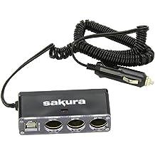 Sakura SS5105 Alargador para mechero de coche, 12V, 3 Enchufes de Mechero y 2 Puertos USB