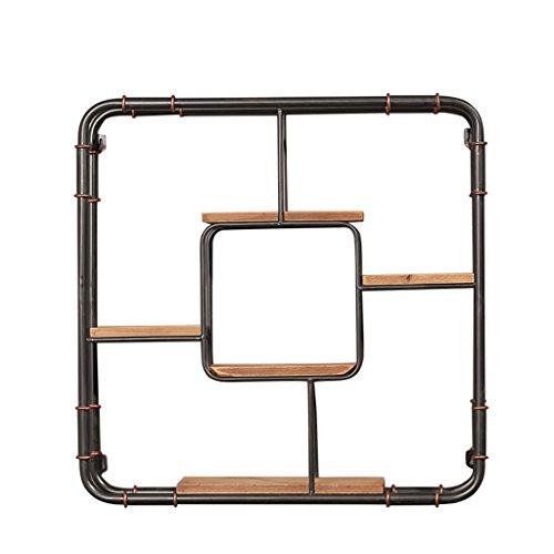 Eisen und Holz TV-Hintergrund Wand-Dekoration / Wandregale / Wand-Stand Storage-Display-Rack für Home Office / Loft Wand-montiert Clapboard-Bücherregal-Einheit Blumen Rack (5 Tiers-62 * 62 * 15cm) -