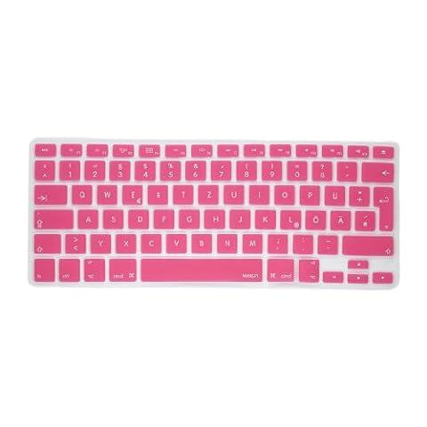 MiNGFi Deutsche Tastatur Silikon Schutz Abdeckung QWERTZ für MacBook Pro 13, 15, 17 Air 13 Zoll EU Keyboard Layout Silicone Cover - Pink