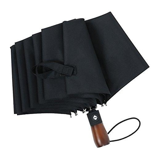 Automatischer Reise-Regenschirm, Kompakter Windundurchlässiger Golf-Regenschirm, Leichte 10 Rippen Tragbarer Und Dauerhafter Faltender Regenschirm Mit Bequemem Hölzernem Griff Für Frauen-Männer Erwachsene Kinder,Black