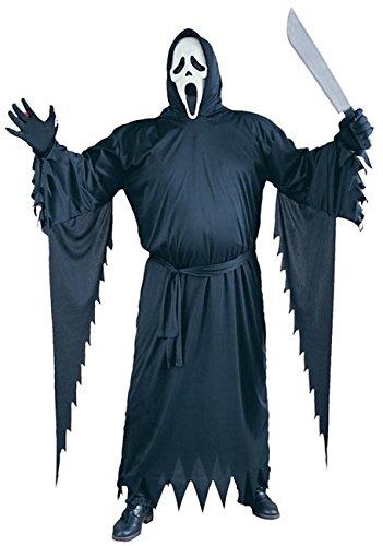 Scream Halloween Kostüm mit Umhang und Maske original Film Lizenz - schwarz - Plus Size ()