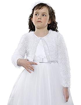 Bellissimo Cardigan Prima Comunione Damigella Bolero da Bimba in Ecopelliccia da Bambina 7-12 Anni