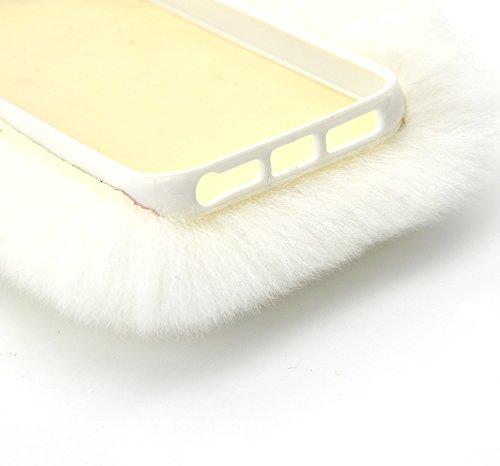 iPhone 7 Plus Hülle, iPhone 7 Plus Schutzhülle, Vandot 3D Diamant Schutzhülle iPhone 7 Plus Case Cover Bogen Rhinestone Bling Kristall Shining Handmade Handgefertigt Handyhülle Transparent TPU Silikon Kaninchen Weiß