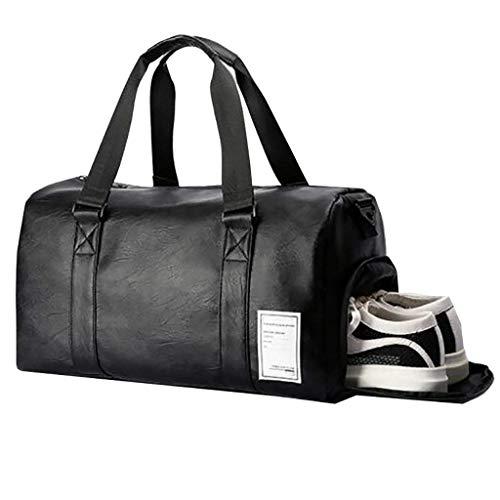 Melodycp Bolsa de Gimnasio portátil de 25 Pulgadas, Bolsa de Viaje de Cuero para Gimnasio, Deporte, Bolsa de Fin de Semana fácil de Limpiar, Color Negro, tamaño 21cm 27cm 44cm