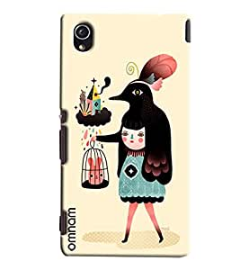 Omnam Lady And Animal Effect Printed Designer Back Cover Case For Sony Xperia M4
