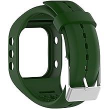 Silicona reloj banda correa de repuesto Flexible longitud ajustable pulsera Fitness para Polar A300reloj inteligente, Army Green