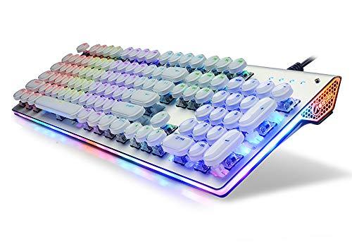 FULANTE Spiel mechanische Tastatur, verdrahtete leuchtende Dampf mechanische Tastatur Kristall Essen Huhn Computer Notebook mechanische Tastatur -