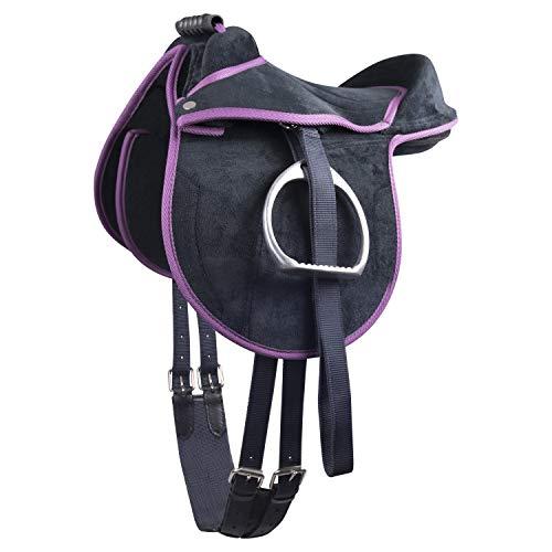 Waldhausen Kinder Pony Reitkissen | Ponysattel komplettes Set mit Stick auch für Holzpferde geeignetes Sattelset | Cub Saddle Set Lila Junior Set