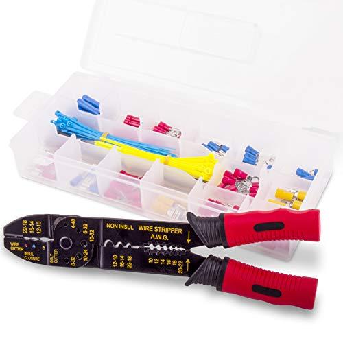 Hi-Spec 4-in-1 Draht-Crimp- & Abisolierzange mit 175-teiligem Drahtklemmen- und Anschlusskit für das Crimpen nichtisolierter & isolierter Stecker & Abisolierdrähte
