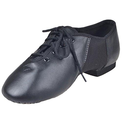 Oasap Unisex Leather Lace up Split Sole Jazz Dance Shoes Black