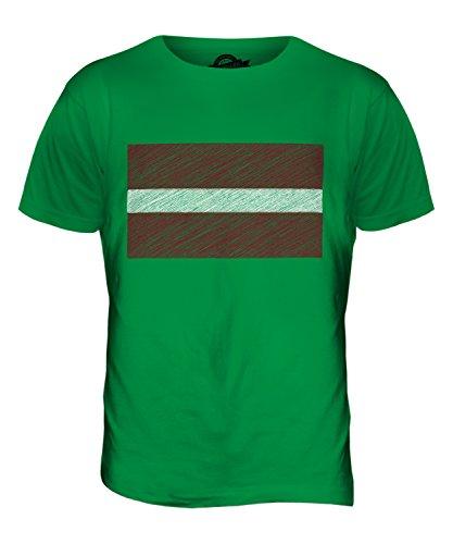 CandyMix Lettland Kritzelte Flagge Herren T Shirt Grün