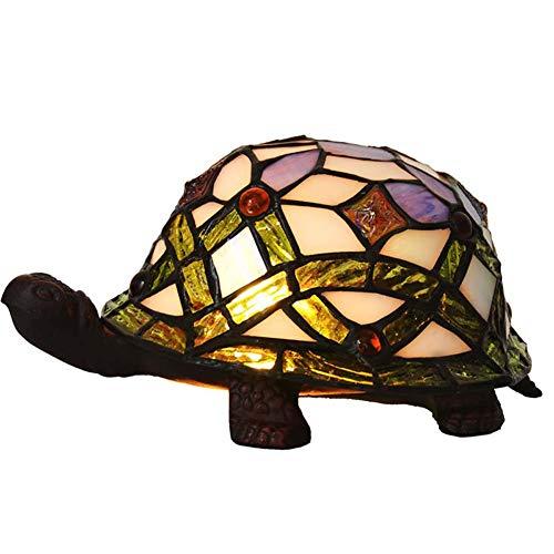 Tischlampe im Tiffany-Stil, Tischlampe mit Schildkröte aus farbigem Glas, Nachttisch für kleine Nachttischlampe, Dekoration für Zuhause GiftE12 × 1 15W × 1