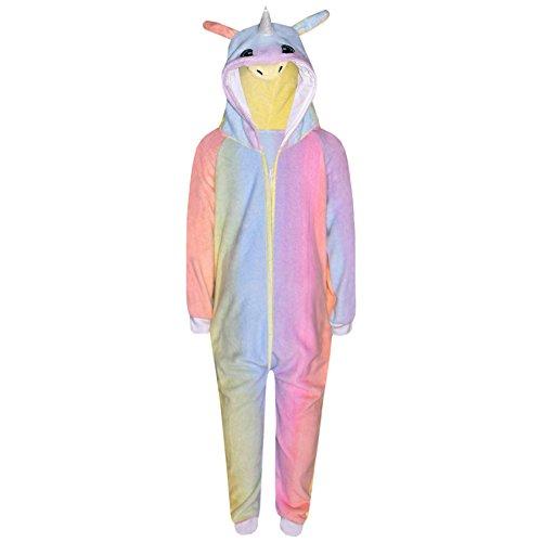 A2Z 4 Kinder Kinder Mädchen Jungen Strampelanzug Extra Weich Flaumiger Unicorn Alles in einem - Rainbow - 9-10 Jahre