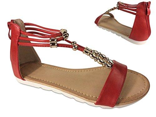 Damen Sandalen Perlen Glitzer Nieten Sandaletten Riemchen Römer ST660 Rot