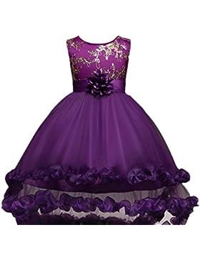 Vestito bambini Abito Ricamo vestiti Ragazze PrincipessaFesta Fiore Compleanno Nozze damigella d'onore Pageant...