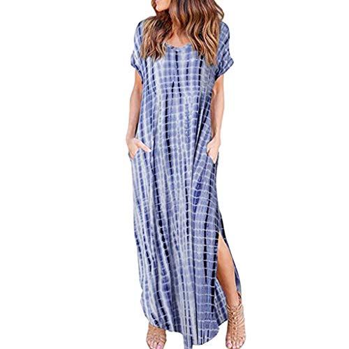 ommer Kurzarm Schulterfrei Einfarbig Blumenkleid Maxi Kleid A-Linie Kleider Vintage Elegant LäSsige Kleidung Rundhals Basic Casual Strandkleider(W3-Blau,L) ()