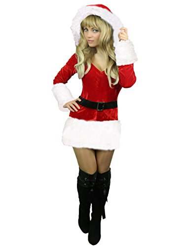 Yummy Bee - Frau Weihnachtsmann Santa Karneval Fasching Kostüm Damen Größe 34-50 (Weiß, 40-42) (Frau Bee Kostüm)