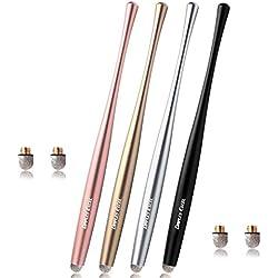 Dimples Excel Slim Taille Stylet Stylus Pen avec Conseils de Fibre 6mm pour Ipad Kindle Tablette et Smartphone (Jet Black/Signature Silver/Gold/Rose Gold)