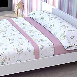 Tolrá Juego de sábanas Infantil Modelo Unicornio (Rosa, 90cms)