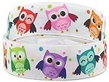 Trendstern® Trendprodukteshop 2 Meter Webband Borte Eule Ripsband Ribbon OWL Eulen Tiere Stoff