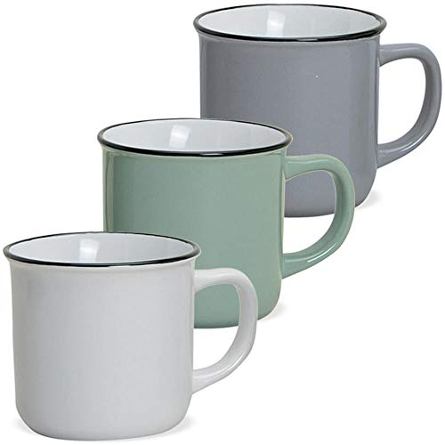 matches21 Tassen Becher Kaffeebecher Emaille-Optik Kaffeetassen Email-Optik 3-tlg. Set Keramik 8 cm / 300 ml