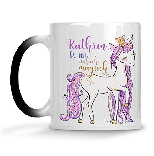 Tasse Einhorn Farbwechsel personalisiert mit Name Du bist einfach magisch