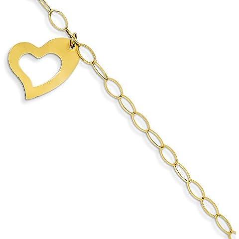 14ct Oro ovale link catena aperta con cuore Bracciale