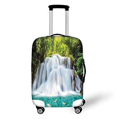 Travel Luggage Cover Suitcase Protector,Waterfall,Clouds of Fog Rolling Over Waterfall and Trees Clear Pond with Fishes,Turquoise Green White,for Travel -