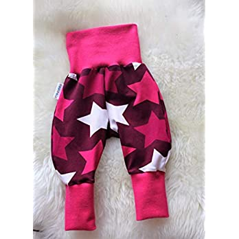 Baby Pumphose Schlupfhose Sweathose Babyhose newborn Gr. 56-68 Sterne Big Stars pink