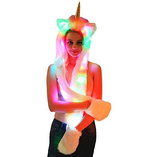 3 en 1 LED Sombrero Unicornio Bufanda Guantes Piel Artificial con Luz Colorida LED Sombrero de Una Pieza (Unicorn)