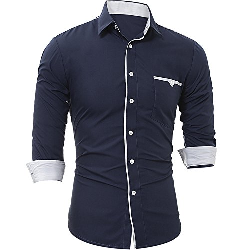 T-shirt da uomo a tinta unita slim da uomo a maniche lunghe a tinta unita,natural,m