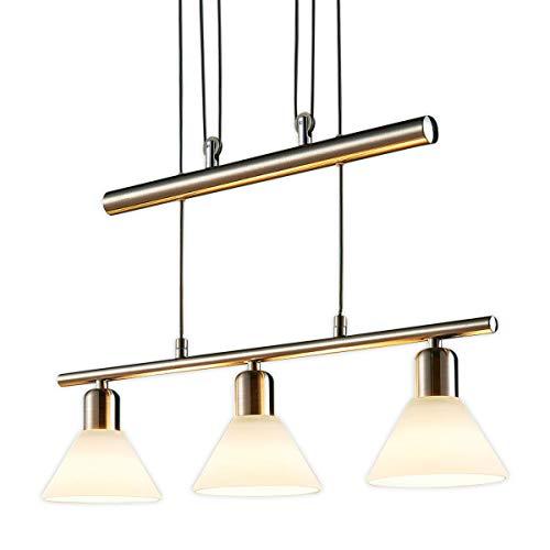 Lampenwelt LED Pendelleuchte \'Eleasa\' dimmbar (Modern) in Alu aus Glas u.a. für Wohnzimmer & Esszimmer (3 flammig, E14, A+, inkl. Leuchtmittel) - Hängeleuchte, Esstischlampe, Hängelampe, Hängeleuchte
