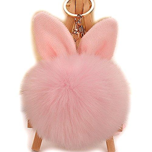 URSFUR Schlüsselanhänger aus Kunstfell Kaninchen Fellbommel Bommel Geburtstagsgeschenk Taschenanhänger (pink)