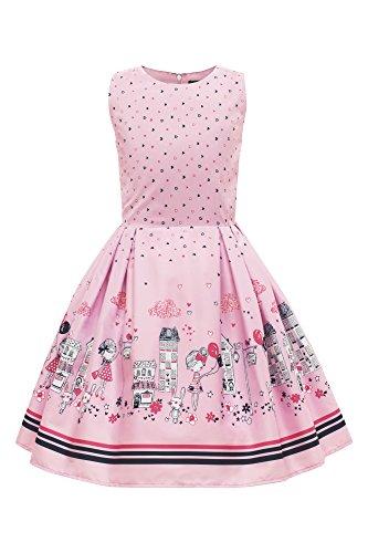 BlackButterfly Kinder 'Kira' Vintage City Mädchen Kleid im 50er-Jahre-Stil (Rosa, 5-6 J / 110-116)